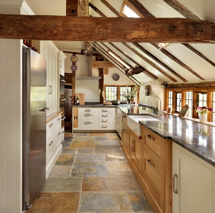 Light Brown Wood Cabinet Wite Stone Flooring Plastic Covered Raw Beams Skylight Quaints Windows