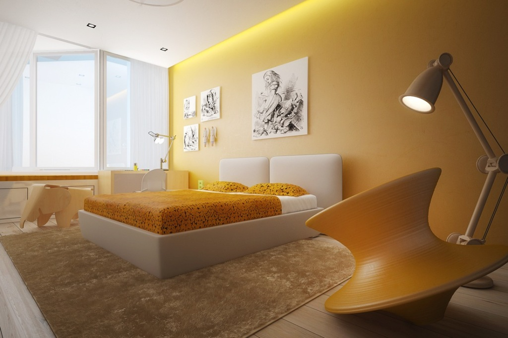Light Orang Painted Wall White Bedframe Elephant Shaped Furniture Orange  Bedsheet And Pillow White Painted Ceiling