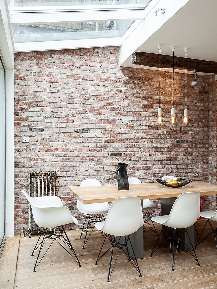 light wooden floor white dining chairs wooden varnished dining table skylighted ceiling white painted ceiling small & 13 Industrial Dining Room Design Ideas | HomesFeed