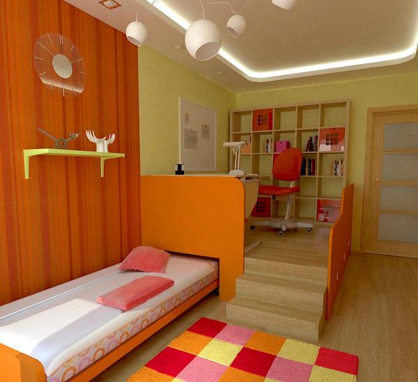 light wooden varnished floor modular design bedroom orang striped wall light yellow painted wall orange bedframe trendy pendant lamp teenage bedroom design
