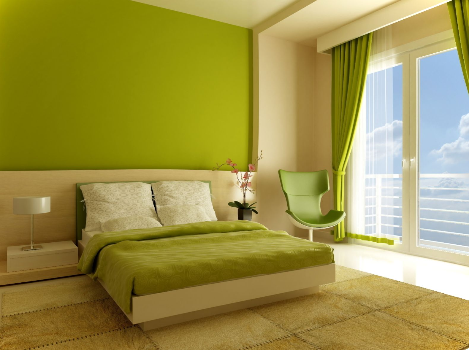 Lime green paint colors - Lime Green Painted Wall Lime Green Window Curtain Lime Green Swivel Chair Lime Green Bedsheet Green