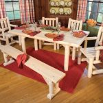 lovely Chair Also Striped Curtain Glasses Window Also wooden Flooring Ideas elegant Dining area Design With Red Rug Below The Pure Picket Dining Table Set