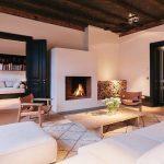 lovely Fireplace Insert White Wall Beside Darkish Wooden Door And Picket Desk Rug Lighting Ceiling Classic Residence interior Design Elegant Dwelling Room Decoration