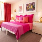 lovely Pink Crimson Curtain Design Also Pink Cover Cowl As Properly White Picket Vanity also Lamp Desk Together with Gray Carpet Under The Bed plus Some Frame On The Wall Thought Lovable Light Pink Bedroom Inside Design