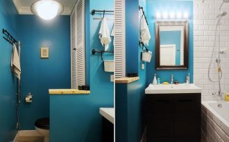 lovely Wall Lighting Mirror also Darkish Wood Vainness Sink Beautiful Small Rest room Ideas With Blue Portray Wall Including Pendant Lamps
