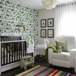 Lovely Nursary Room With Magnificent Green And White Animal Also Elegant Briwn And White Crib With Cozy White Large Sofa In Colorful Striped Rug