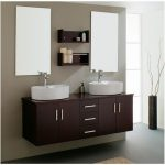 Luxurious Mirror Along Glasses Window Nook And Handmade Modern Powder Area Concept Concepts With Darkish Picket Vainness Cabinet That Includes Double Sink