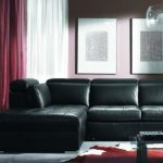 luxurious Pink Rug As Effectively White Vanity Beside White Crimson Curtain plus Pendant Lamp classic Black Leather Couch Bed Concepts With Low Glass Table