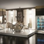 luxury Blue Gentle In Silver Furnishings Cabinets As Properly Classic Chandelier Eating Table also Elegant Dresser In The Close by Engaging Luxury Dining Room Interior Design