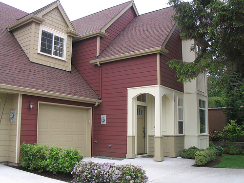 Luxury Great Trendy House With Two Gable In Red Tone Additionally Pearl White Front Feat