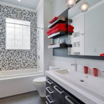 magnificent bathroom decoration with a sight of sexy red towel and wonderful mosaic artistic walling with long white sink in granite flooring idea