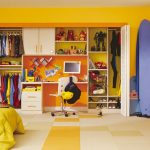 magnificent closets idea with shocking yellow accenet feat low profile bed furniture also amazing small study desk in light yeloow tile flooring