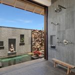 magnificent japanese bathroom style with open shower bathtub also wonderful granite wall decor also rustic long sitting in concrete flooring idea