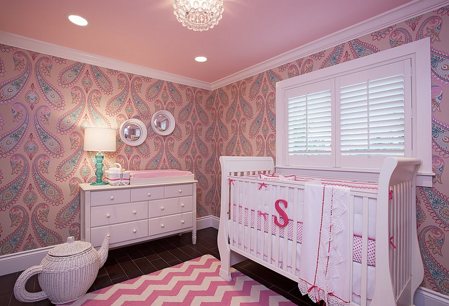 Magnificent Nursery Room With Pink Accent Feat Gorogeus Large Craddle Also  Interesting Teco Shape Rattan Basket · Perfect Baby Bursery Idea ...