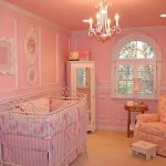 Magnificent Pink Room With Elegant Iron Crib Also Cozy Sofa With Light Pink Wall Decals And Interesting Downlight With Narrow Cabinet