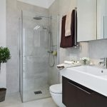 magnificent small bathroom ideas with wonderful washing stand and large mirror with cute glass shower and wonderful hars stone flooring with nice bidet