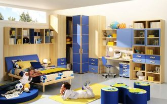 magnificent teenage boys room with interesting blue and yellow accent also cozy small bed completed with round sitting and large bookshelves furniture in laminate flooring concept