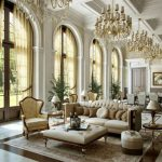 majestic white painted ceiling beige classic sofa brown painted wooden big doo marble tiled floor classic dining set beautiful chandeliers white moldings classic design style room