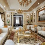 marble patterned painted wall brown marble painted ceiling vintage patterned carpet white patterned chairs gold painted metal coffee table gold metal chandelier classic design style room