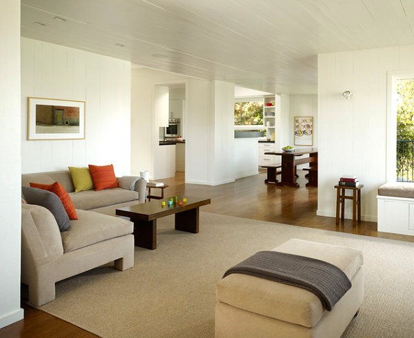 Miinimalist living room interior design idea with cute assorted color cushion and interesting soft grey couch minimalist