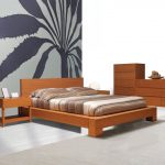 minimalist Picket Furnishings Set As Nicely Floral Wallpaper Along With Striped Pattern Bedding plus Pillow Easy Brown Picket Queen Trendy Platform Bed Decoration