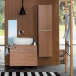 minimalist Sink On The Wooden Vainness Along Stripes Carpet Towel Sheleves On The Stairscase Ideas Stunning Lavatory Ideas With Wood Cupboard