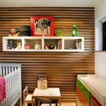 Nursery Room With Specific Theme Feat Elegant White Crib And Amazing Wall Mount Open Shelve Also Mini Study Desk With Itneresting Narro Window Design