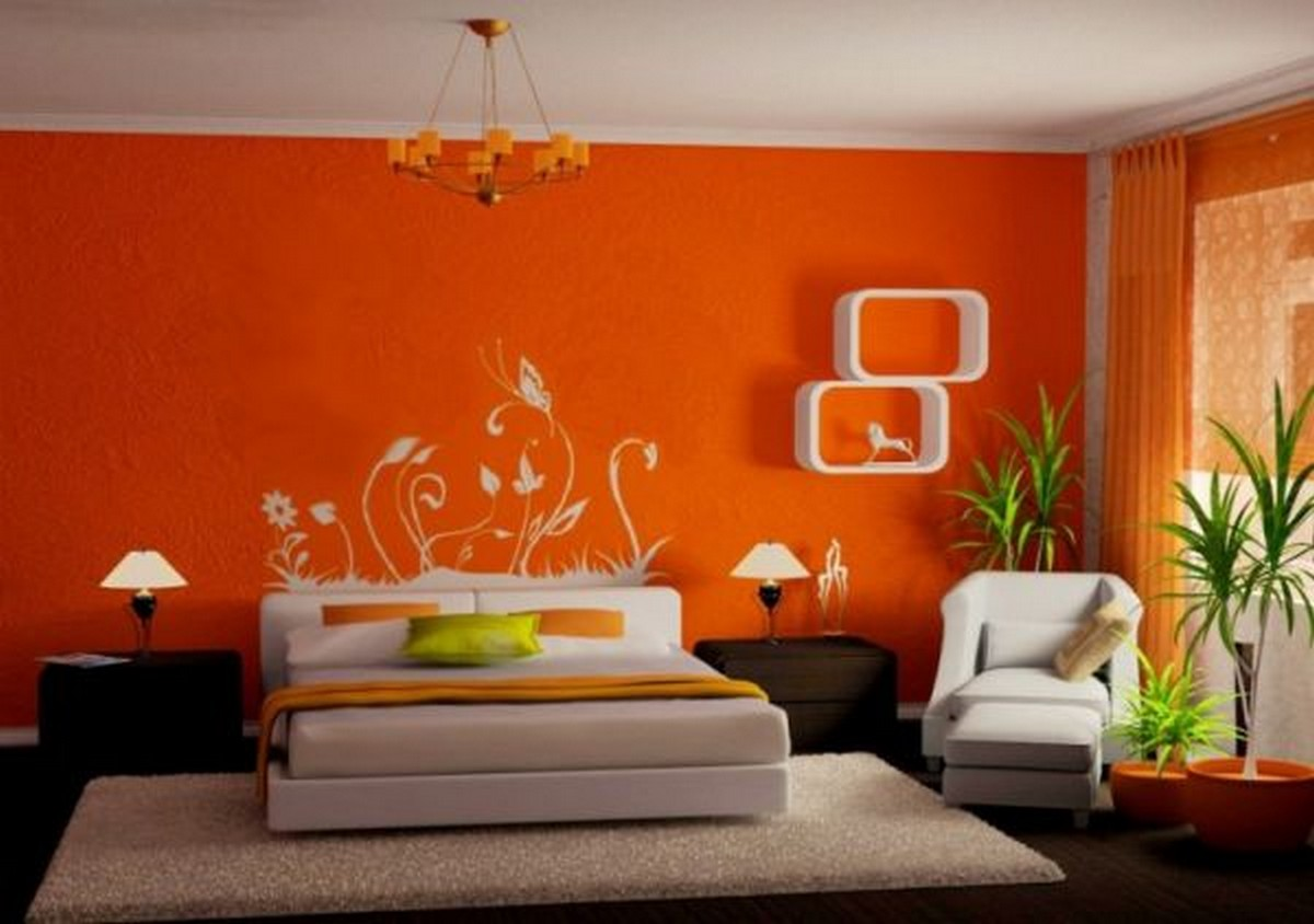 Orange Painted Wall Dark Wooden Floor Creame Rug White Ceiling Bedframe Chair