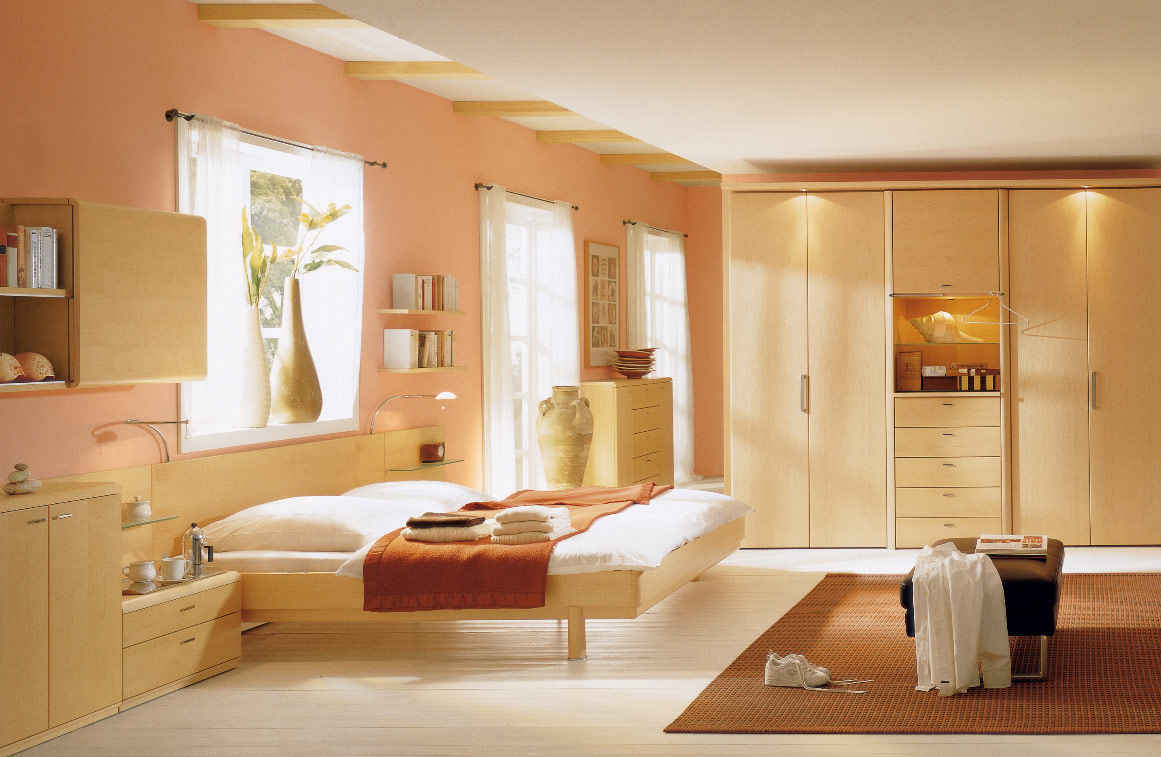 Pale Orange Painted Wall White Ceramic Floor Particleboard Bed Frame Particleboard Storages Particleboard Wardrobe Brown Floor