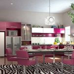pink kitchen cabinets pink dining table marble floor zebra printed dining rug gray printed wall square pendant lamp gray long dining table colorful kitchen design ideas