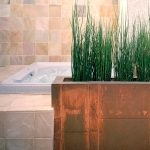 porcelain tile floor porcelain tile wall drop in bath tub built-in copper plant brown pottery bathroom plant options green bathroom ideas