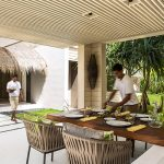 Privite Dining Area In Cheval Hotel With Amazing Rooofing Style And Wonderful Green View And Magnificent Stone Pathaway