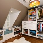 Ravishing Boys Room With Amazing Large Closet Design Also Interesting Sloping Wall With Gorogeus Pendant Lamo With Aamzing White Fur Ruh In Hardwooden Flooring