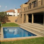 Mediterannean House Design Small Backyard Swimming Pool Green Lawn