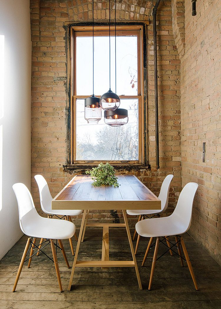 Rustic Wooden Floor Brick Wall White Painted Wall Wooden Varnished Dining  Table White Dining Chairs Metal
