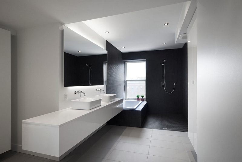 Simple White Painted Wall Black Ceramic Tiled Wall Steel Wall Mount Shower  Faucet Drop In Shower