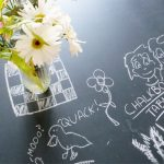 sketched chalk table glass flower pot a bucket of flower inspirational table chalkboard table furniture diy challenge