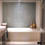 small bathroom decoration with interesting mosaic wall also gorgeous undermount bathtub and cute white washing stand