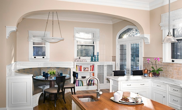 Small Dining Room Idea With Gorgeous Soft Pink Wall Decol Also Alluring White Framed Window And