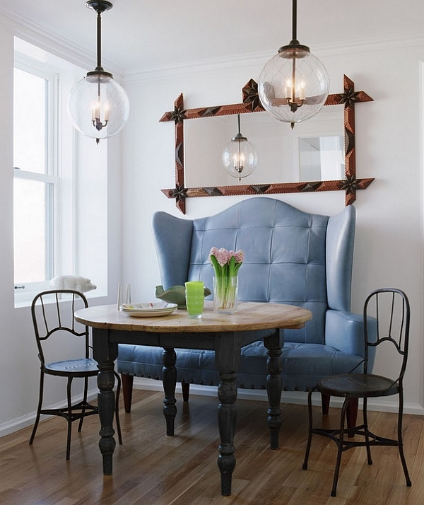 Small Dining Room Idea With King Size Leather Blue Sofa Also Wonderful Iron Chair Wooden