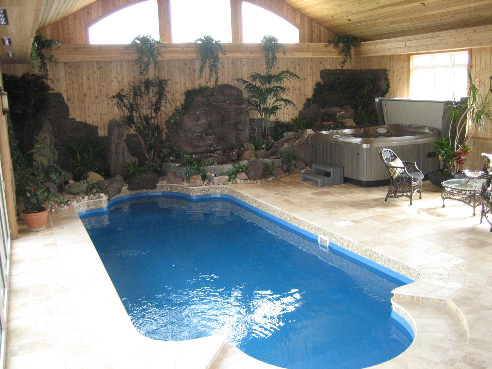 Smart Small Indoor Swimming Pool With Gorgeous Landscape And Amazing White  Stone Paving With Gorgeous Spa