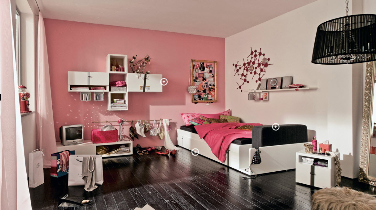 soft pink painted wall white painted wall black wooden floor white hanging  bookcases white wooden bedframe