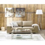 superb Brown Couch Together with Lamp Standing Beside Wooden Wall Additionally Animal Frame On The Wall plus White Rug Beneath Table Elegant Dwelling Room Glasses Desk Set Design
