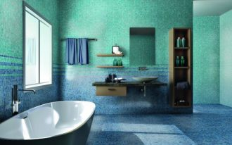 superb Ground Including Bathtub Beside Glass Window And Wood Vanity Sink Amusing Toilet Decoration Ideas With Mosaic Tile Wall