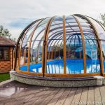 superb Tile Cover As Properly Wooden Ground Deck Decoration Wonderful Swimming Pool Design with Glasses Wall Body Pool