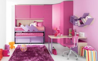 superior Slender House With Folding Bunk Bed And Large Wardrobe Pink Coloration Furnishings Pink Purple Women Bed room Design Concepts