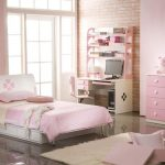 trendy Desk With Dressers plus Mirror Uncovered Brick Wall Tender Pink Colour Girls Bedroom Fashionable Design