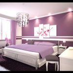 violet painted wall white painted ceiling cozy violet rug gray steeled bedframe violet blanket white wooden bed side table beautiful pendant lamp beautiful color ideas for bedroom
