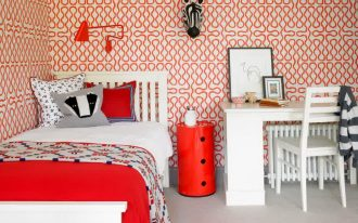 white ceramic flooring red patterned statement wallpaper gorgeous red wall lamp round red table white bed ith red bed cover white chair white desk red pillow white floral pillow