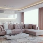 white dining chairs white wall white ceiling downlights brown curtains white blanket white marble coffee table white vase crystal floor lamp white pillow floor-to-ceiling windows brown patterned rug